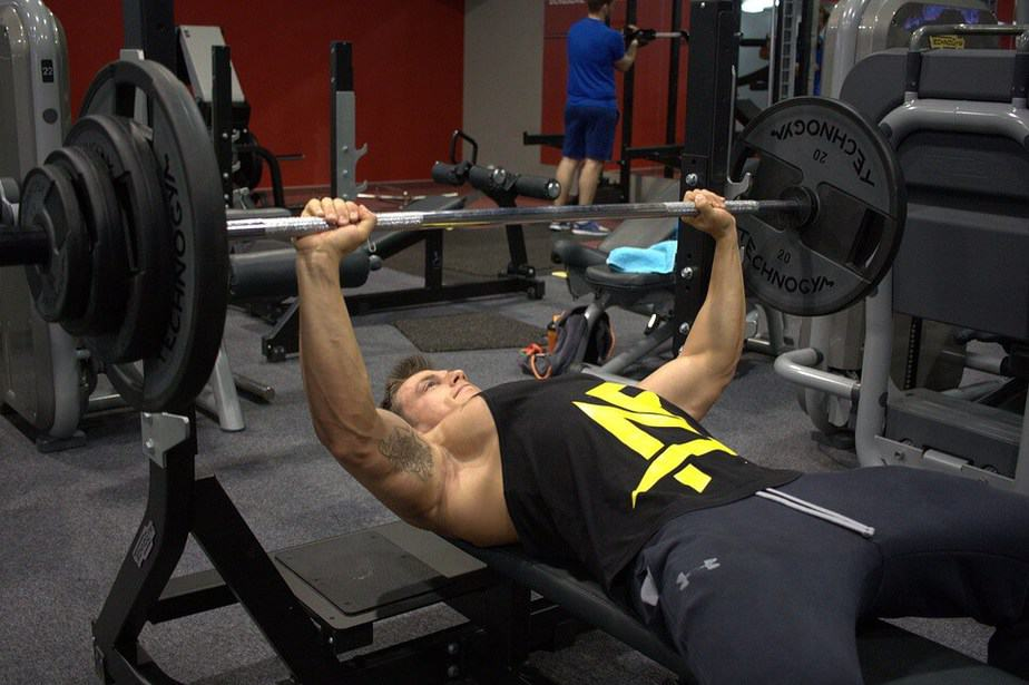 3. weight training bench press