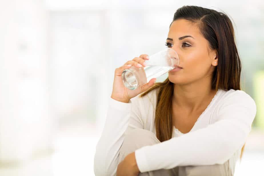 5. woman drinking water