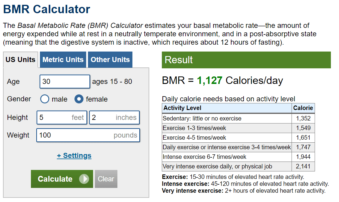 BMR calculator example.